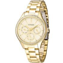 Relógio Citizen Feminino Dourado TZ28404G Analógico 3 Atm Cristal Mineral Tamanho Médio -