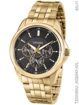 Relógio Citizen Quartz TZ20395U/AG8342-52L Multifunção Pulseira de Aço Dourado -
