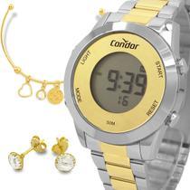 Relógio Condor Feminino Dourado e Prata Digital Prova d'água com 1 ano de garantia com bracelete e brincos -