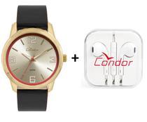 Relógio Condor Masculino Couro Dourado com Fone de Ouvido - CO2035KWV/K2D -