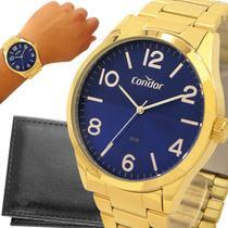 Relógio Condor Masculino Dourado Azul Prova d'água com garantia de 1 ano e carteira -