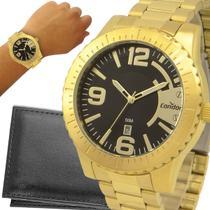 Relógio Condor Masculino Dourado Cinza Prova d'água com garantia de 1 ano e carteira -