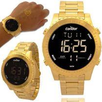 Relógio Condor Masculino Dourado Digital Prova d'água e com 1 ano de garantia COBJ3463AA/4D -