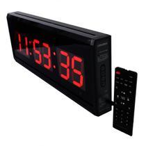Relógio Cronômetro Temporizador Contagem com Temperatura e Alarme 48x18cm - Paranaled