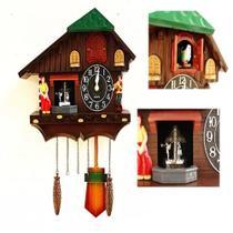 Relogio cuco musical pendulo estilo madeira vintage canto do passaro de parede retro quartzo - Makeda