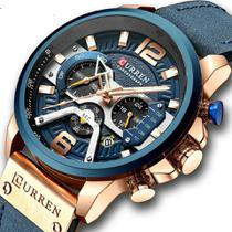 Relógio curren 8329 azul cronografo original couro social masculino todo funcional analogico -