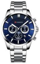Relógio Curren 8358 Prata e Azul -