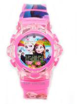 Relógio da frozen rosa Disney com som e luzes 3d - Daf