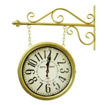 Relógio de estação Hotel Paris Dourado 35 cm - Gomes Decor