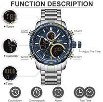 Relógio De Luxo Importado Masculino Naviforce Nf9182 Original Funcional Cor Prata Silver Fundo Preto -