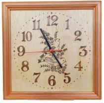 Relógio de madeira de parede desenho de Pássaros feito a mão - Artesanal