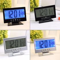 Relógio De Mesa Digital Despertador Temperatura Led Azul - Exclusivo