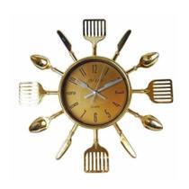 Relógio De Parece Cozinha Talheres Dourado Garfo Colher - Nova Era
