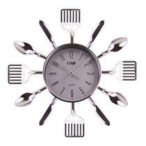 Relógio De Parece Cozinha Talheres Prata Garfo Colher Talher - Nova Era