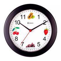 Relógio de Parede 21 cm Preto Cozinha Frutas Herweg 660070-34 -