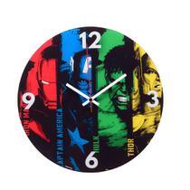 Relógio de Parede 30cm Marvel Avengers Capitão América, Thor, Hulk e Homem de Ferro -