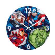 Relógio de Parede 30cm Marvel Avengers com os Heróis Hulk, América, Thor e Homem de Ferro. -