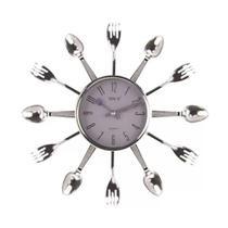 Relógio de parede 32cm 1 pilha AA Cozinha Talheres - Toda Casa