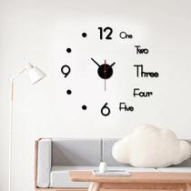 Relogio de parede 3d 50cm preto grande casa sala escritorio decoração adesivo luxo - Makeda