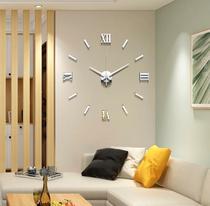 Relógio De Parede 3D Luxo Adesivo Autocolante Decoração Para Casa Sala Quarto Escritórios Cor Prata - Diy