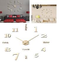 Relogio de parede ajustavel decoração 1,2m grande 3d 70 a 120cm casa sala escritorio dourado - Makeda