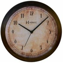 Relógio de parede analógico base envelhecida mecanismo step herweg ferrugem -