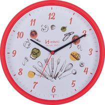 610846c7a4e Relógio de parede analógico decorativo ideal para cozinha herweg vermelho