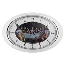 Relógio de parede analógico decorativo mecanismo step detalhes cromados herweg branco -