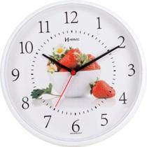 Relógio de parede analógico decorativo morango ideal para cozinha herweg branco -
