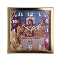 Relógio de parede analógico decorativo religioso mesa de jesus cristo herweg dourado claro -
