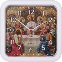 Relógio de parede analógico decorativo religioso santa ceia herweg branco -