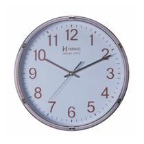 Relógio de parede analógico moderno decorativo com fundo branco herweg dourado -
