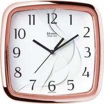 Relógio de parede analógico moderno metalizado mecanismo step herweg rosê -