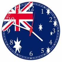 Relógio De Parede Bandeira Da Austrália Tamanho Grande 50 Cm Quartz G01 - Vital Quadros