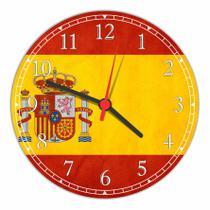 Relógio De Parede Bandeira Da Espanha Tamanho Grande 50 Cm Quartz G01 - Vital Quadros