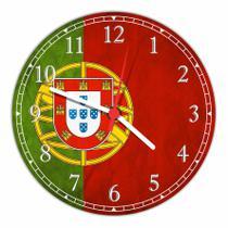 Relógio De Parede Bandeira De Portugal Salas Tamanho Grande 50 Cm Quartz G01 - Vital Quadros