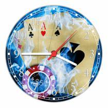 Relógio De Parede Baralho Pôquer Cartas Naipes Tamanho Grande 50 Cm Quartz G06 - Vital Quadros