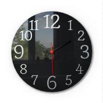 Relógio De Parede Black Piano Aço Escovado Sala Cozinha - Visual Laser