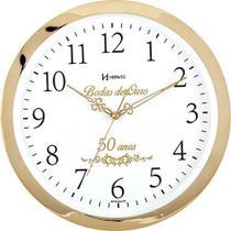 Relógio De Parede Bodas De Ouro 35cm Presente De Casamento / Musical Ref - 6815 - Herweg