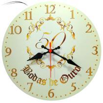 Relógio De Parede Bodas Ouro 50 Anos Presente Casamento 30cm - Relógil