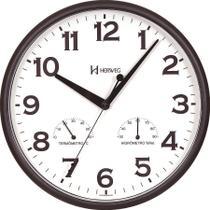 Relógio de Parede c/ Medidor de Umidade e Temperatura - Preto - Herweg -