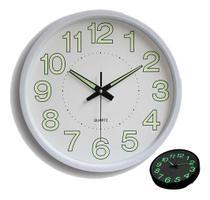 Relógio De Parede Casa Sala Cozinha Branco Brilha No Escuro - Exclusivo