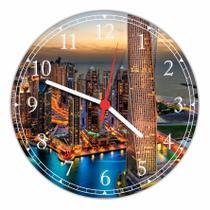 Relógio De Parede Cidade Dubai Decoração Quartz - Vital Quadros