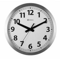 Relógio de parede clássico analógico mecanismo step fundo branco alumínio escovado herweg -