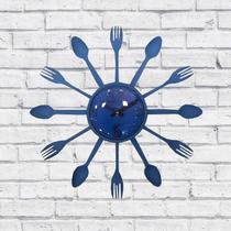 Relógio de Parede Cozinha Decorativo Talheres Azul 15X15X3cm - Maisaz