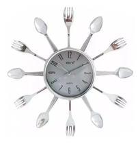 Relógio De Parede Cozinha Modelo Grande 33x33 Cm Prata ! - Yin'S
