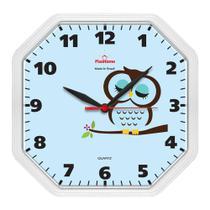 Relógio de Parede Cozinha Oitavado Coruja Branco - Plashome