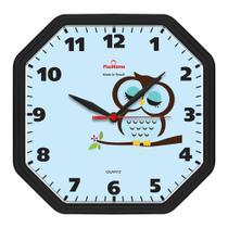 Relógio de Parede Cozinha Oitavado Coruja Preto - Plashome