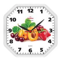 Relógio de Parede Cozinha Oitavado Fruta Branco - Plashome