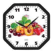 Relógio de Parede Cozinha Oitavado Fruta Preto - Plashome